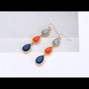 Jewelry - Multicolor Drop Acrylic Metal Earrings.